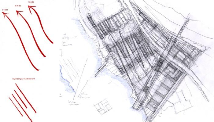 l'idea guida del progetto e la prima impostazione dell'impianto del quartiere